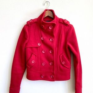 FOREVER 21 RED PEA COAT JACKET